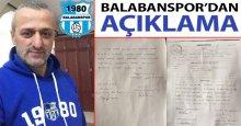 Balabanspor'dan açıklama